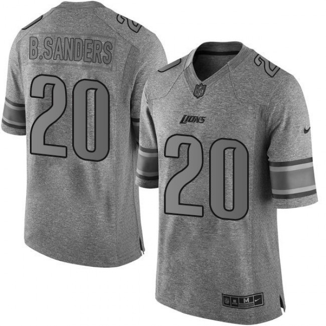 Nike Lions #20 Barry Sanders Gray Men's Stitched NFL Limited Gridiron Gray Jersey