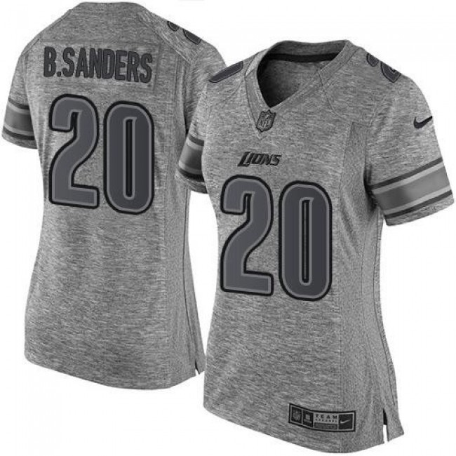 Women's Lions #20 Barry Sanders Gray Stitched NFL Limited Gridiron Gray Jersey