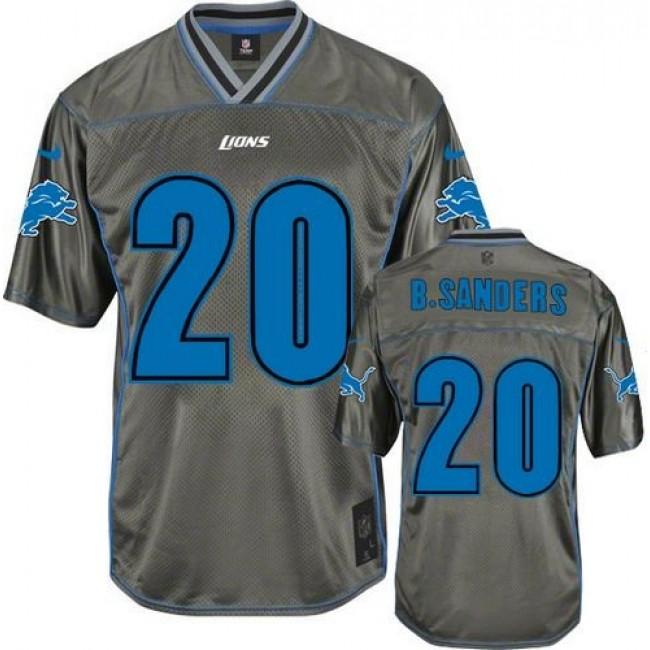 Nike Lions #20 Barry Sanders Grey Men's Stitched NFL Elite Vapor Jersey