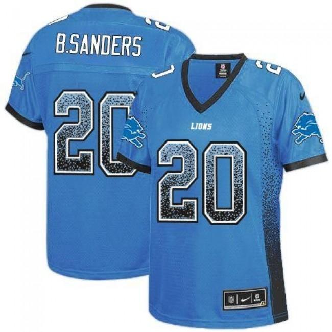 Women's Lions #20 Barry Sanders Light Blue Team Color Stitched NFL Elite Drift Jersey