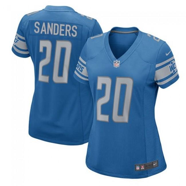 Women's Lions #20 Barry Sanders Light Blue Team Color Stitched NFL Elite Jersey