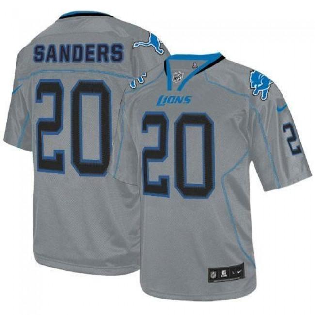 Nike Lions #20 Barry Sanders Lights Out Grey Men's Stitched NFL Elite Jersey