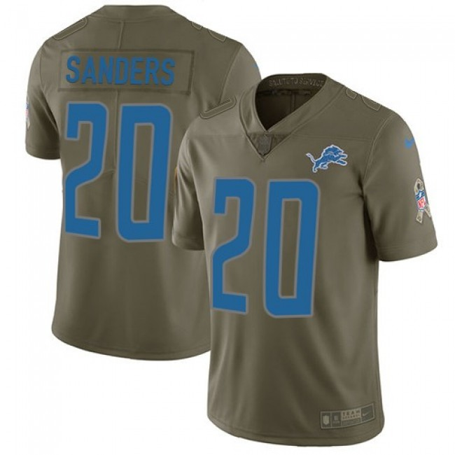 Nike Lions #20 Barry Sanders Olive Men's Stitched NFL Limited 2017 Salute to Service Jersey