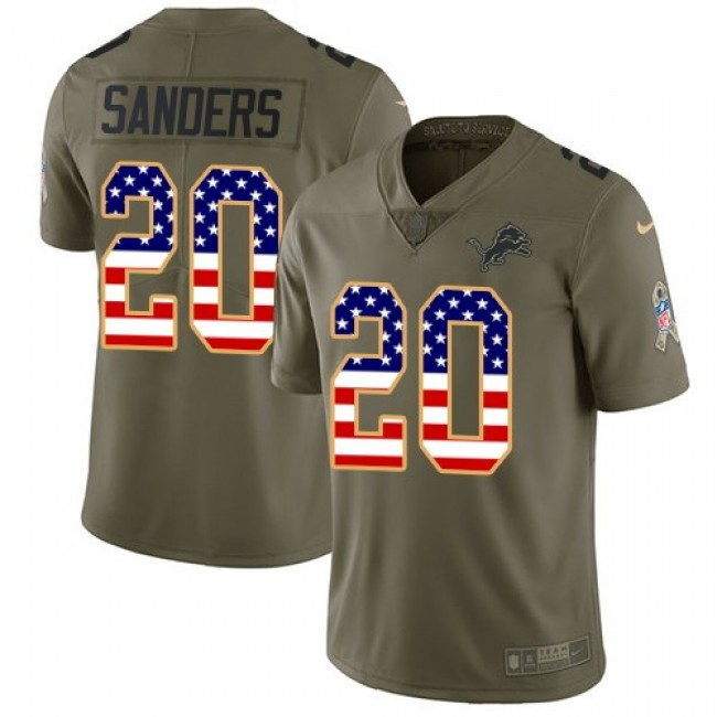 Nike Lions #20 Barry Sanders Olive/USA Flag Men's Stitched NFL Limited 2017 Salute To Service Jersey