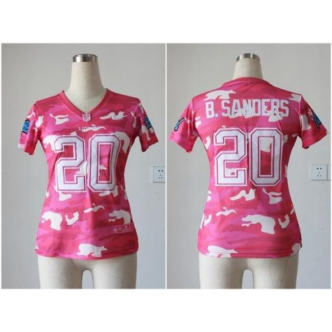 Women's Lions #20 Barry Sanders Pink Stitched NFL Elite Camo Jersey