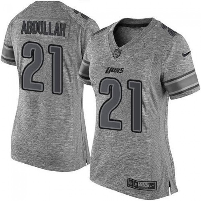 Women's Lions #21 Ameer Abdullah Gray Stitched NFL Limited Gridiron Gray Jersey