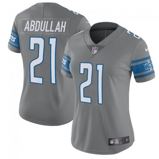 Women's Lions #21 Ameer Abdullah Gray Stitched NFL Limited Rush Jersey