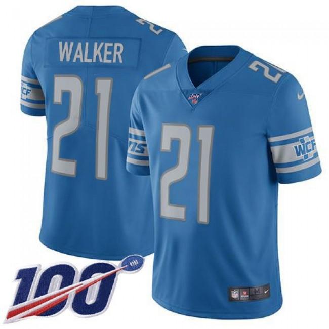 Nike Lions #21 Tracy Walker Blue Team Color Men's Stitched NFL 100th Season Vapor Untouchable Limited Jersey