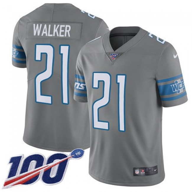 Nike Lions #21 Tracy Walker Gray Men's Stitched NFL Limited Rush 100th Season Jersey