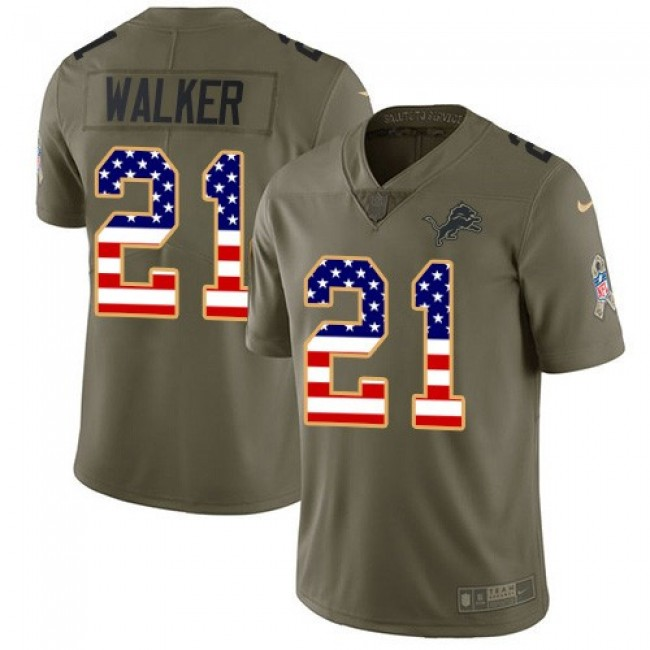Nike Lions #21 Tracy Walker Olive/USA Flag Men's Stitched NFL Limited 2017 Salute To Service Jersey