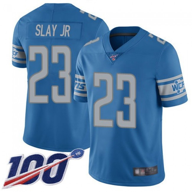 Nike Lions #23 Darius Slay Jr Blue Team Color Men's Stitched NFL 100th Season Vapor Limited Jersey