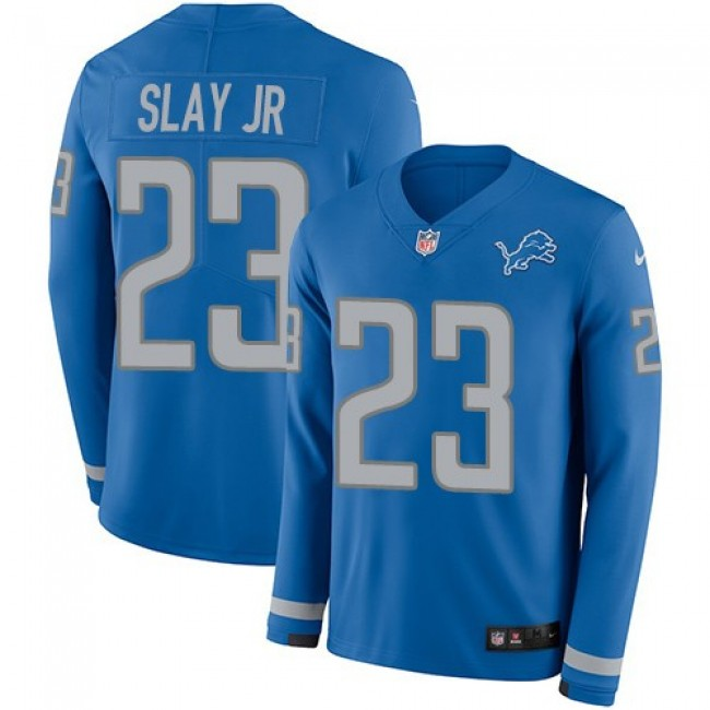 Nike Lions #23 Darius Slay Jr Blue Team Color Men's Stitched NFL Limited Therma Long Sleeve Jersey
