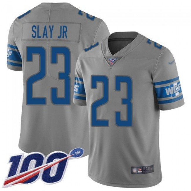 Nike Lions #23 Darius Slay Jr Gray Men's Stitched NFL Limited Inverted Legend 100th Season Jersey