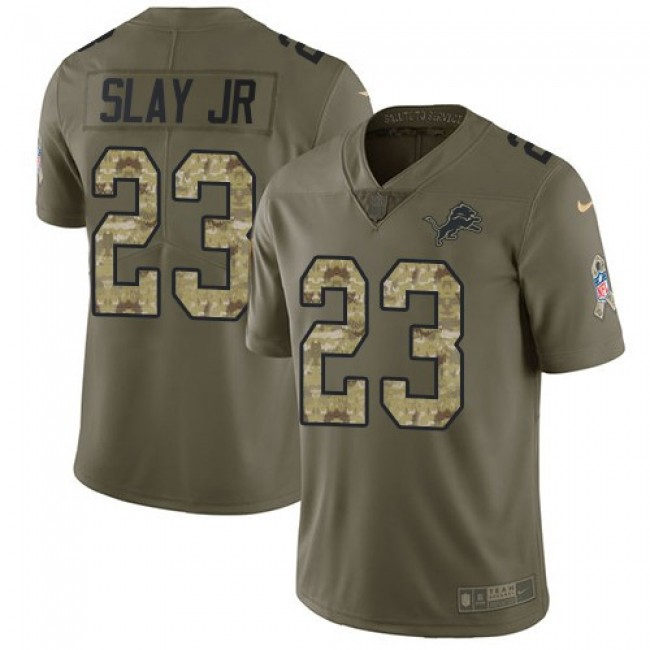 Detroit Lions #23 Darius Slay Jr Olive-Camo Youth Stitched NFL Limited 2017 Salute to Service Jersey