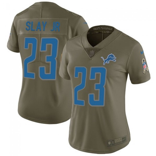 Women's Lions #23 Darius Slay Jr Olive Stitched NFL Limited 2017 Salute to Service Jersey