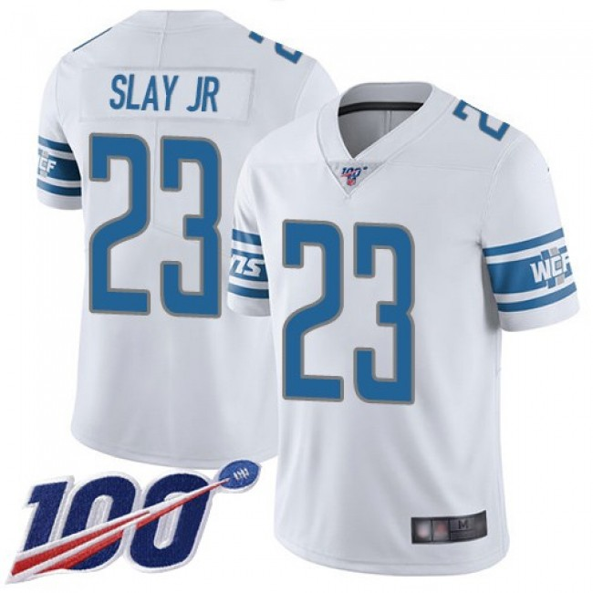 Nike Lions #23 Darius Slay Jr White Men's Stitched NFL 100th Season Vapor Limited Jersey