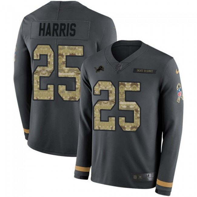 Nike Lions #25 Will Harris Anthracite Salute to Service Men's Stitched NFL Limited Therma Long Sleeve Jersey