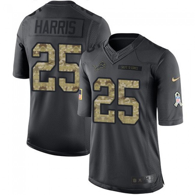Nike Lions #25 Will Harris Black Men's Stitched NFL Limited 2016 Salute To Service Jersey