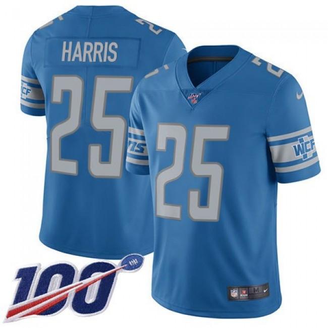 Nike Lions #25 Will Harris Blue Team Color Men's Stitched NFL 100th Season Vapor Untouchable Limited Jersey