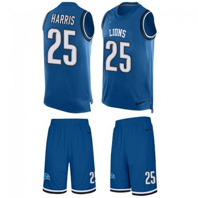 Nike Lions #25 Will Harris Blue Team Color Men's Stitched NFL Limited Tank Top Suit Jersey