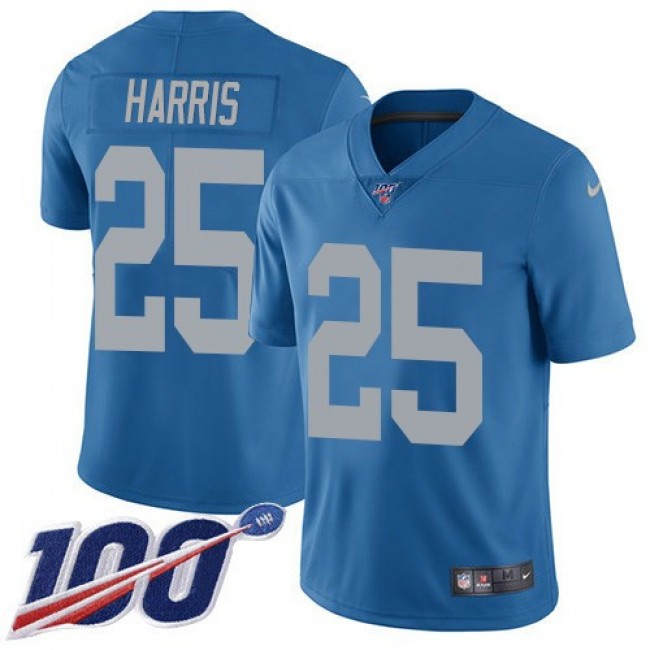 Nike Lions #25 Will Harris Blue Throwback Men's Stitched NFL 100th Season Vapor Untouchable Limited Jersey