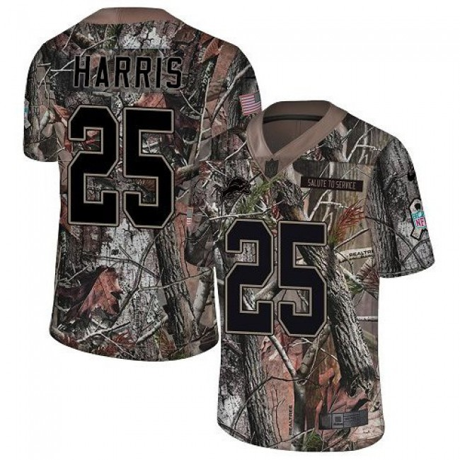 Nike Lions #25 Will Harris Camo Men's Stitched NFL Limited Rush Realtree Jersey