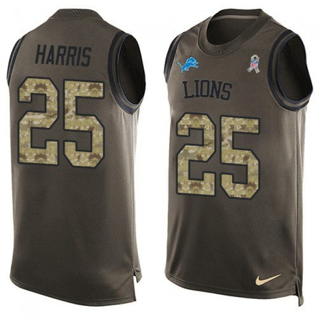 Nike Lions #25 Will Harris Green Men's Stitched NFL Limited Salute To Service Tank Top Jersey
