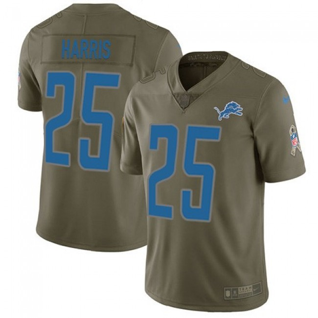 Nike Lions #25 Will Harris Olive Men's Stitched NFL Limited 2017 Salute to Service Jersey
