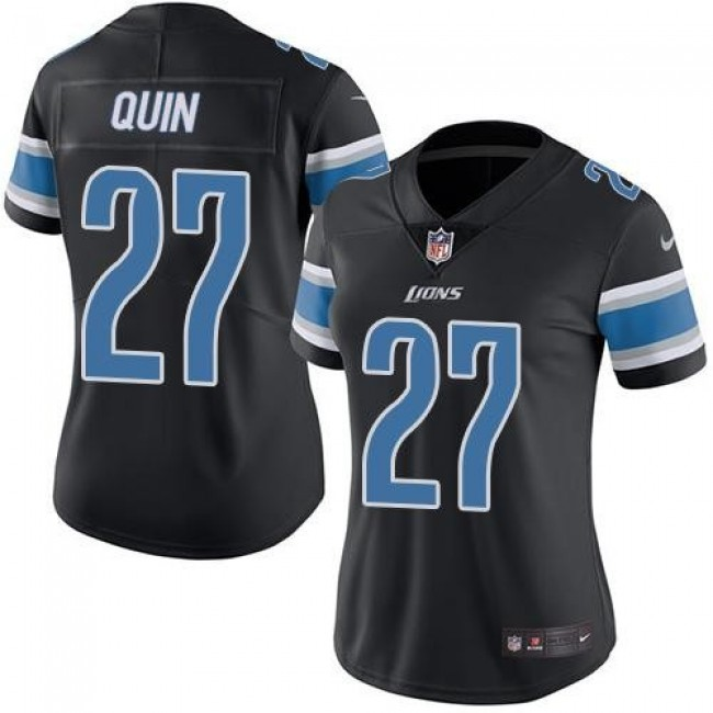 Women's Lions #27 Glover Quin Black Stitched NFL Limited Rush Jersey