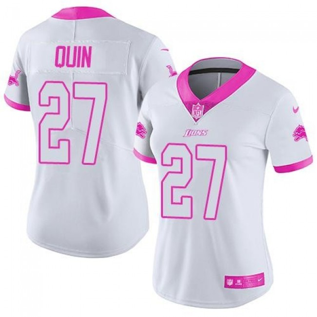 Women's Lions #27 Glover Quin White Pink Stitched NFL Limited Rush Jersey