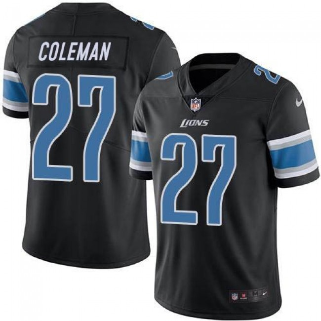 Nike Lions #27 Justin Coleman Black Men's Stitched NFL Limited Rush Jersey