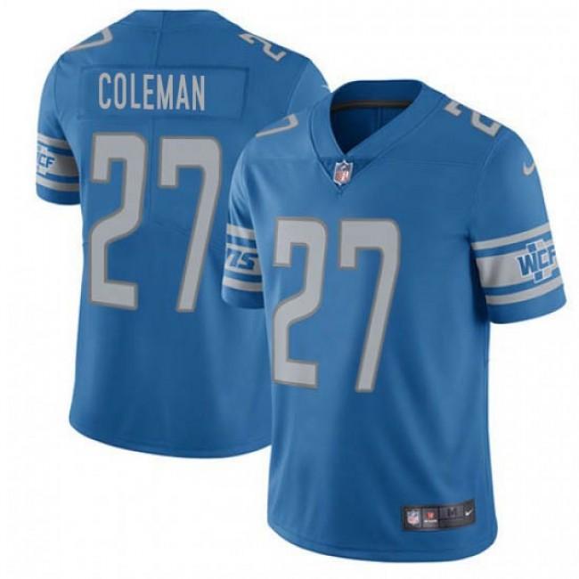 Nike Lions #27 Justin Coleman Blue Team Color Men's Stitched NFL Vapor Untouchable Limited Jersey