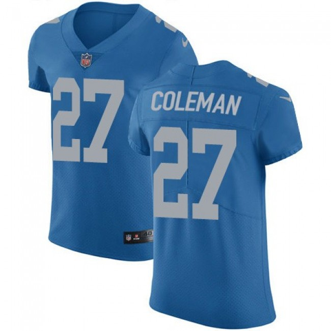 Nike Lions #27 Justin Coleman Blue Throwback Men's Stitched NFL Vapor Untouchable Elite Jersey
