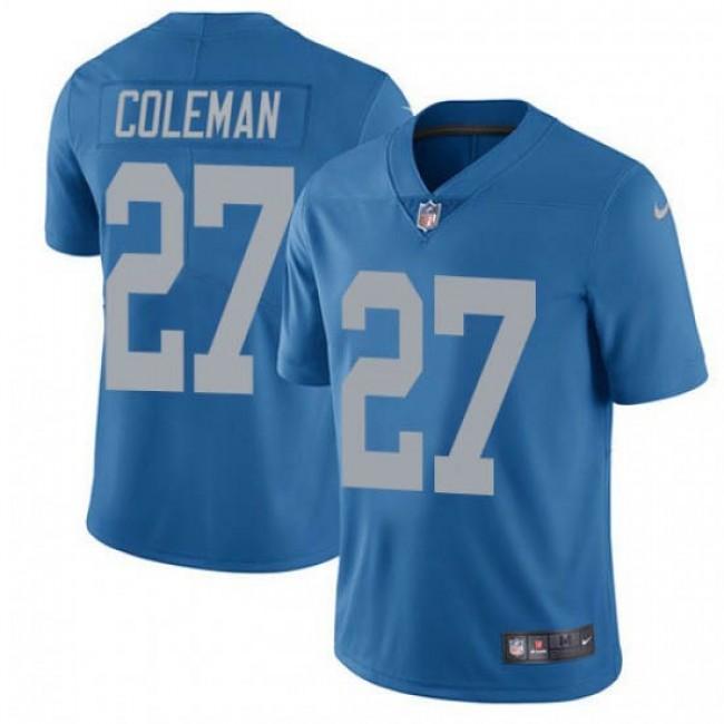 Nike Lions #27 Justin Coleman Blue Throwback Men's Stitched NFL Vapor Untouchable Limited Jersey