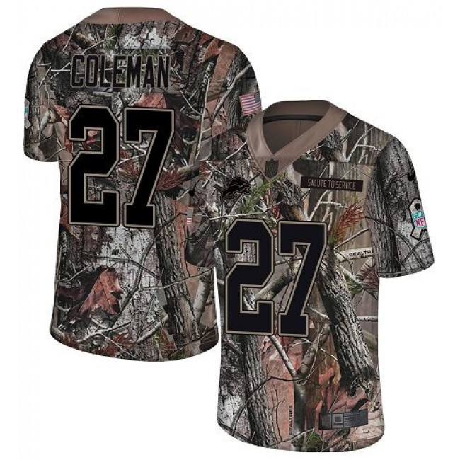Nike Lions #27 Justin Coleman Camo Men's Stitched NFL Limited Rush Realtree Jersey