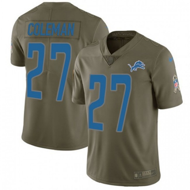 Nike Lions #27 Justin Coleman Olive Men's Stitched NFL Limited 2017 Salute to Service Jersey