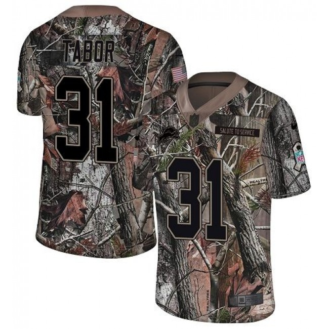 Nike Lions #31 Teez Tabor Camo Men's Stitched NFL Limited Rush Realtree Jersey