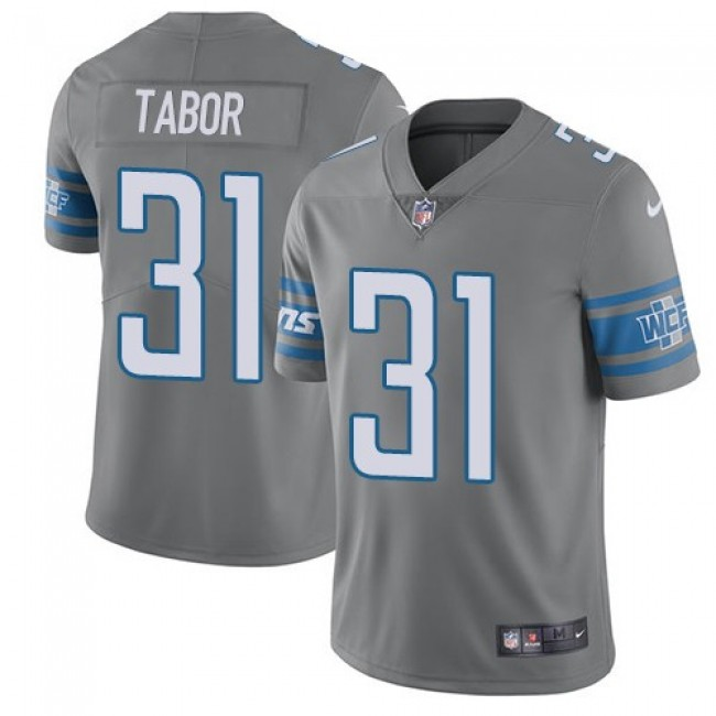Nike Lions #31 Teez Tabor Gray Men's Stitched NFL Limited Rush Jersey