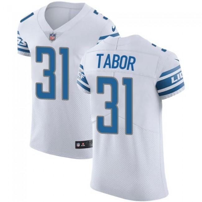 Nike Lions #31 Teez Tabor White Men's Stitched NFL Vapor Untouchable Elite Jersey