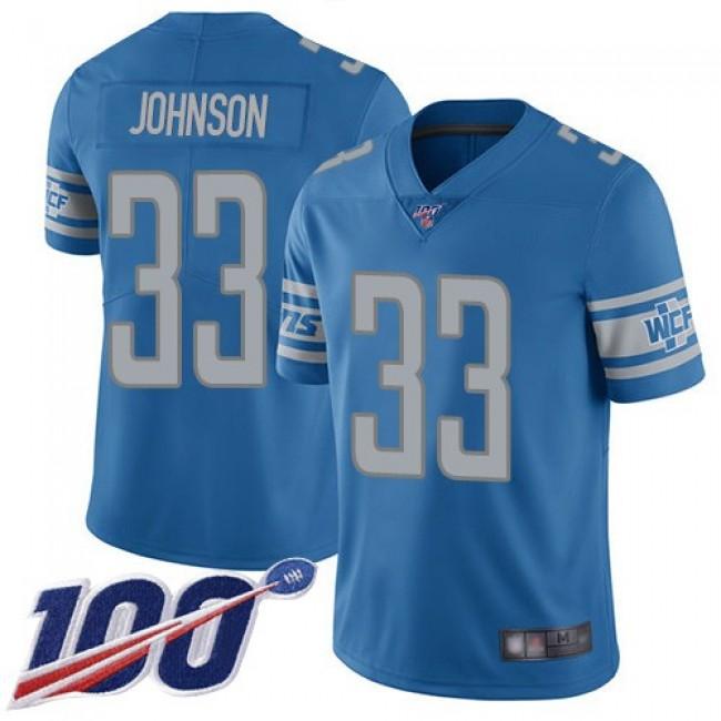 Nike Lions #33 Kerryon Johnson Blue Team Color Men's Stitched NFL 100th Season Vapor Limited Jersey