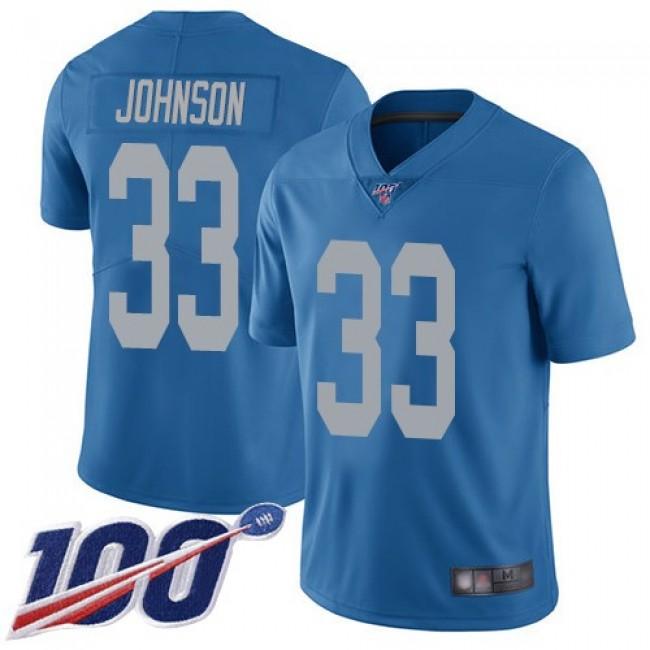 Nike Lions #33 Kerryon Johnson Blue Throwback Men's Stitched NFL 100th Season Vapor Limited Jersey