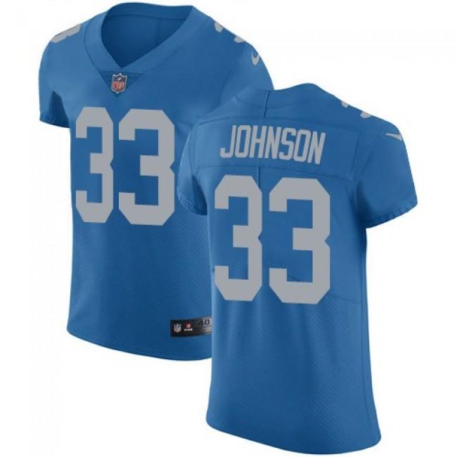 Nike Lions #33 Kerryon Johnson Blue Throwback Men's Stitched NFL Vapor Untouchable Elite Jersey