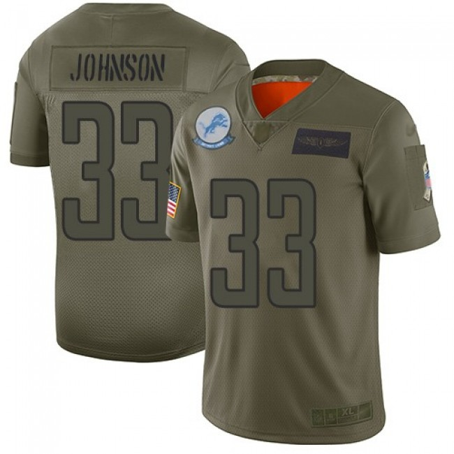 Nike Lions #33 Kerryon Johnson Camo Men's Stitched NFL Limited 2019 Salute To Service Jersey