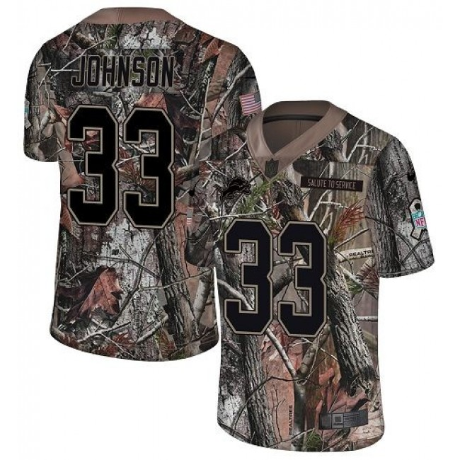 Nike Lions #33 Kerryon Johnson Camo Men's Stitched NFL Limited Rush Realtree Jersey