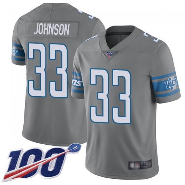 Nike Lions #33 Kerryon Johnson Gray Men's Stitched NFL Limited Rush 100th Season Jersey