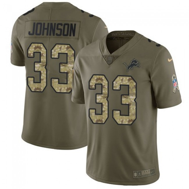 Nike Lions #33 Kerryon Johnson Olive/Camo Men's Stitched NFL Limited 2017 Salute To Service Jersey