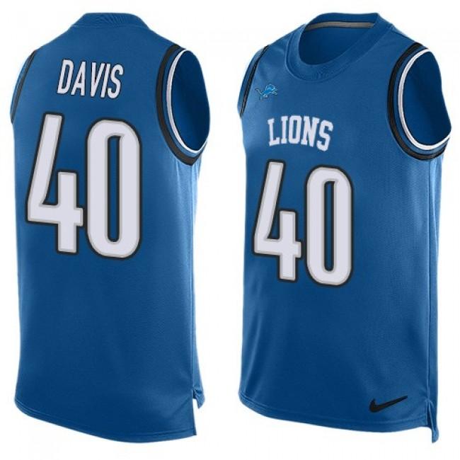 Nike Lions #40 Jarrad Davis Blue Team Color Men's Stitched NFL Limited Tank Top Jersey