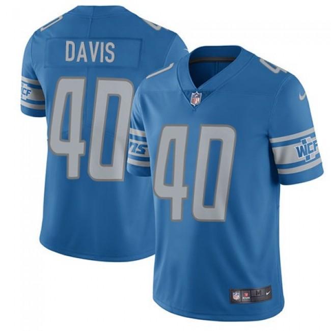 Nike Lions #40 Jarrad Davis Blue Team Color Men's Stitched NFL Vapor Untouchable Limited Jersey