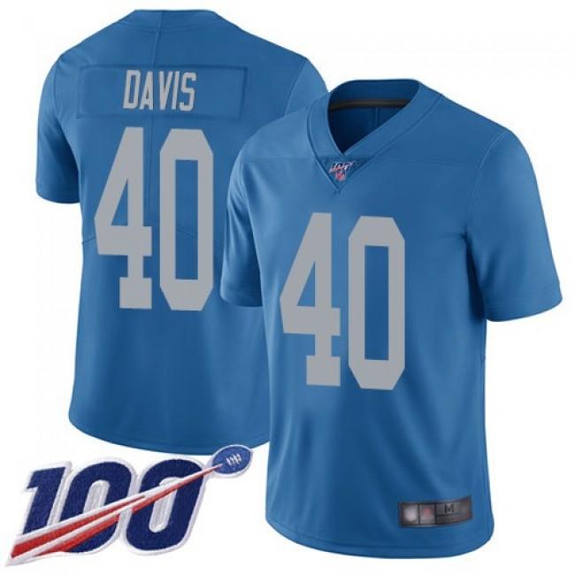 Nike Lions #40 Jarrad Davis Blue Throwback Men's Stitched NFL 100th Season Vapor Limited Jersey