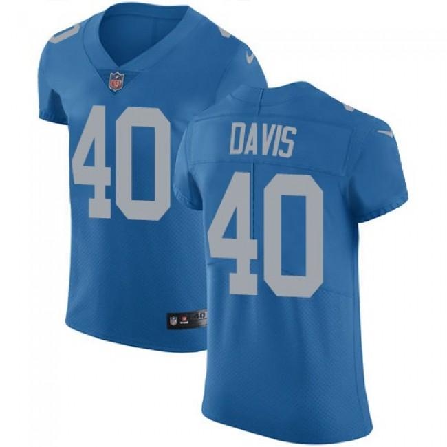Nike Lions #40 Jarrad Davis Blue Throwback Men's Stitched NFL Vapor Untouchable Elite Jersey